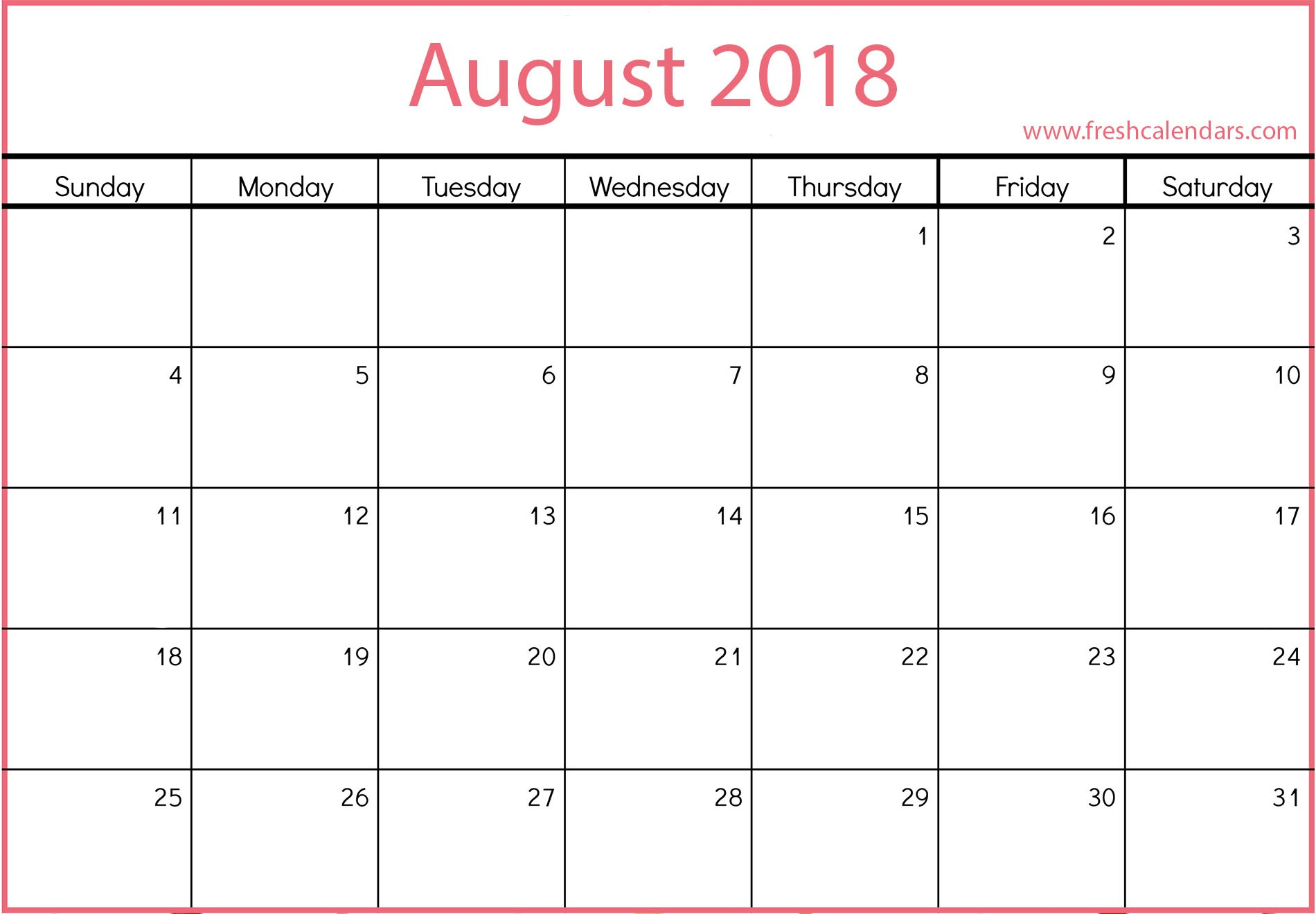 2019 Calendar by Month Printable August 2019 Calendar Printable Fresh Calendars