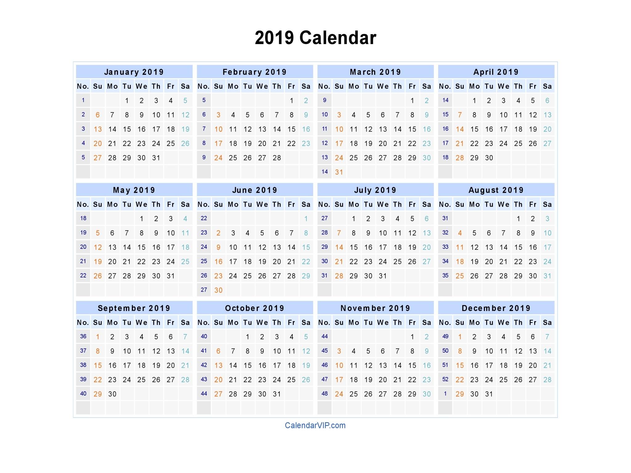 2019 Calendar Printable Landscape 2019 Calendar Blank Printable Calendar Template In Pdf