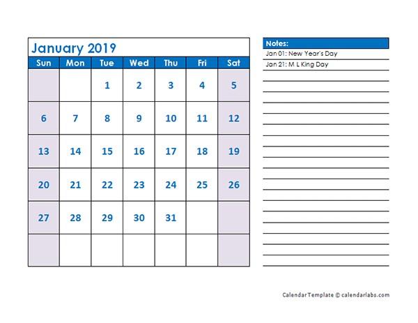 2019 Calendar Printable Landscape 2019 Monthly Calendar Template Landscape Free Printable