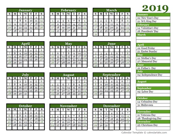 Editable 2019 Yearly Calendar Landscape Free Printable