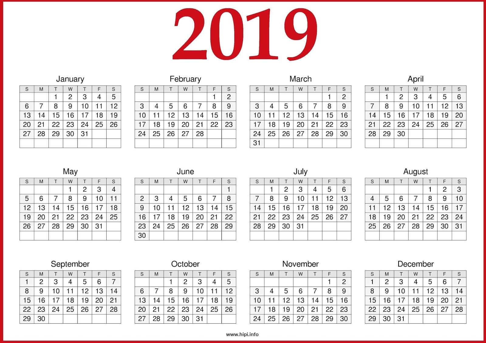 2019 Calendar Printable Pdf Calendar 2019 Pdf