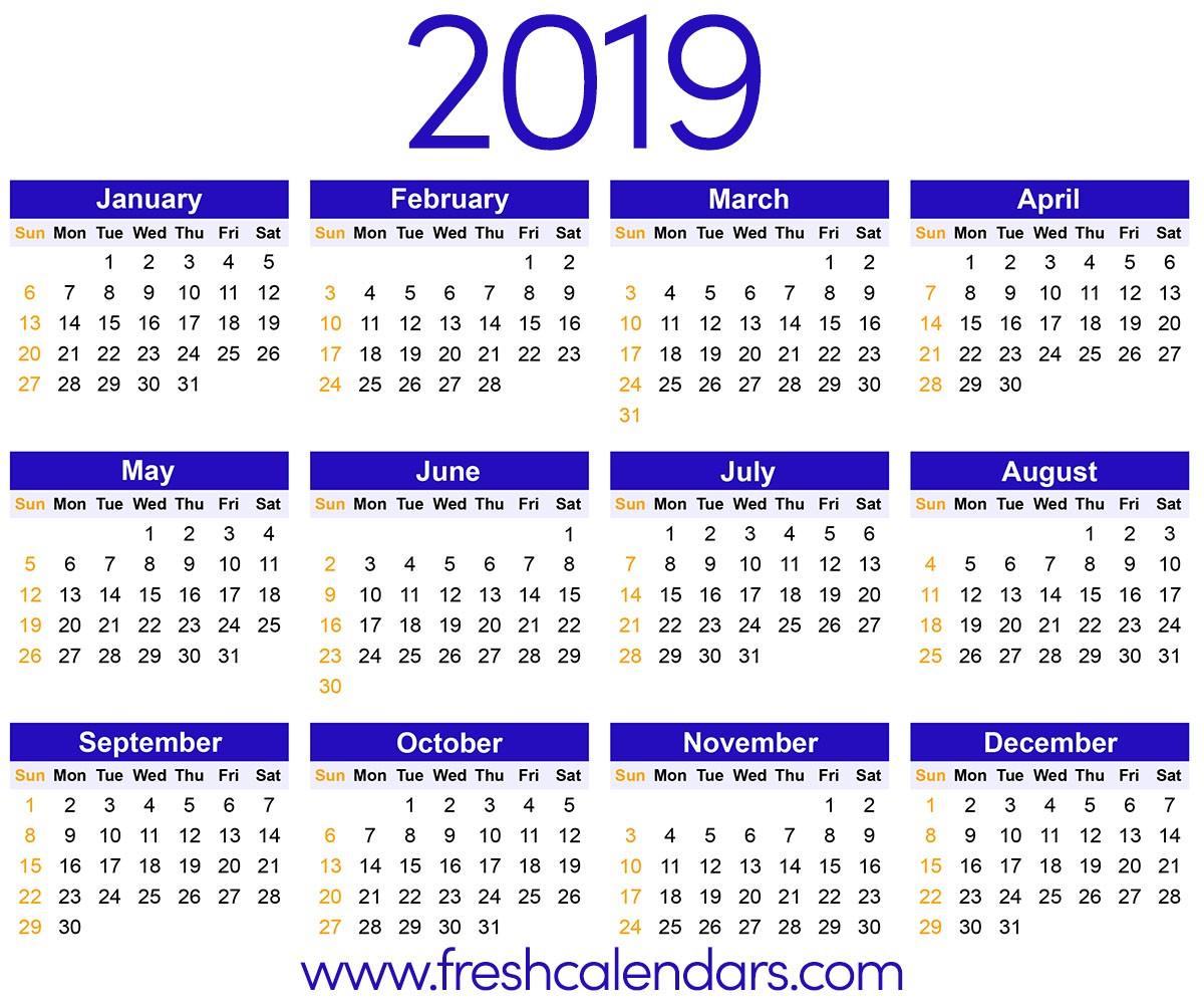 2019 Calendar Yearly Printable 2019 Calendar
