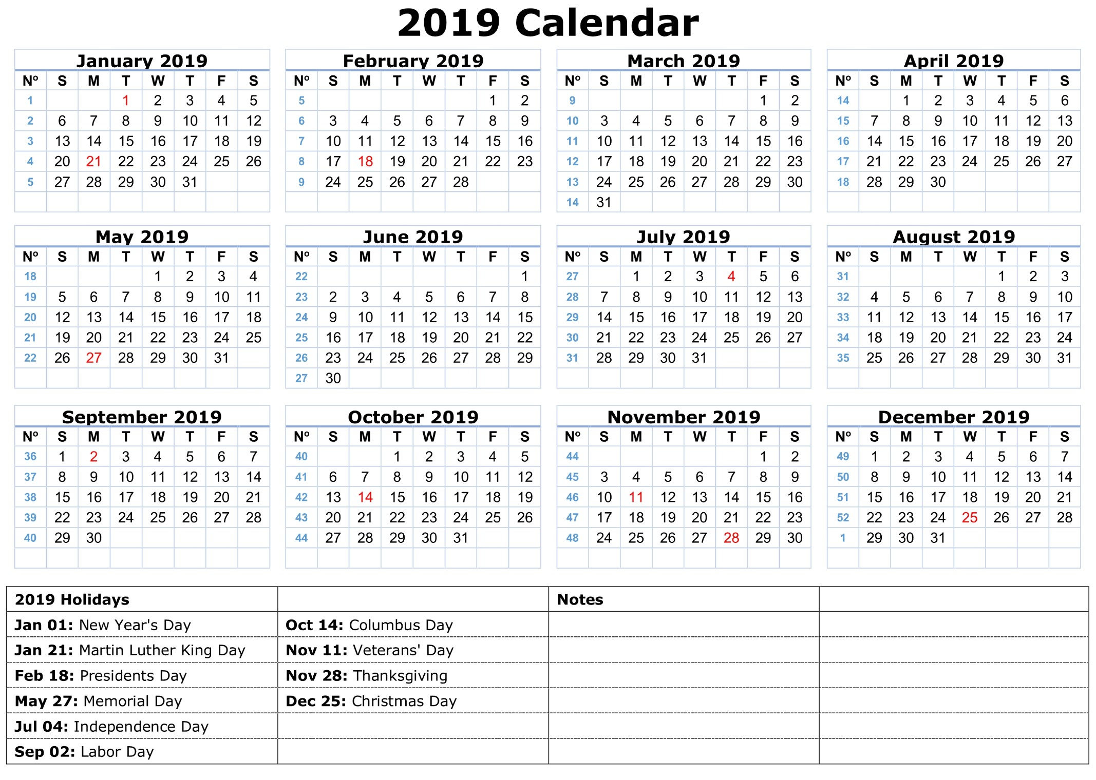 2019 Free Calendar Printable 2019 Calendar Amazonaws