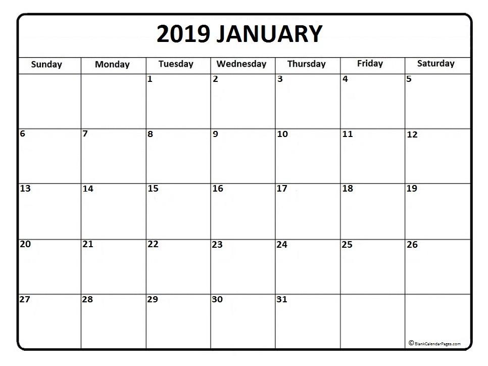 2019 January Calendar Printable January 2019 Calendar