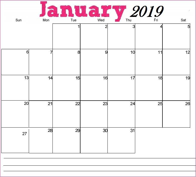 2019 January Calendar Printable Printable January 2019 Calendar