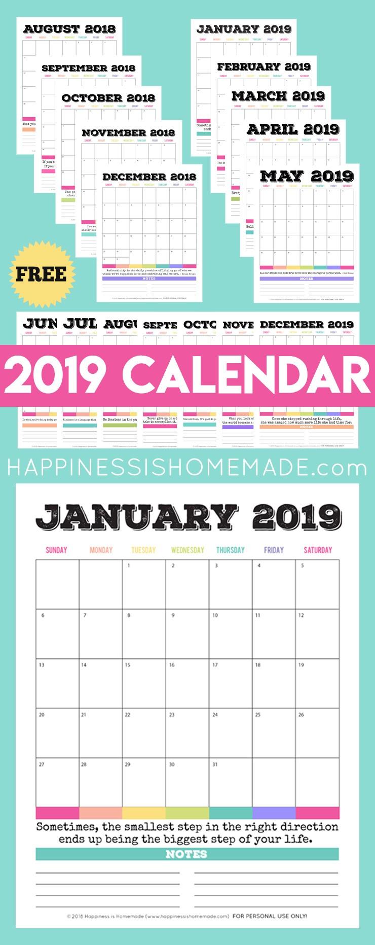 2019 Free Printable Calendar Printable Monthly Calendar