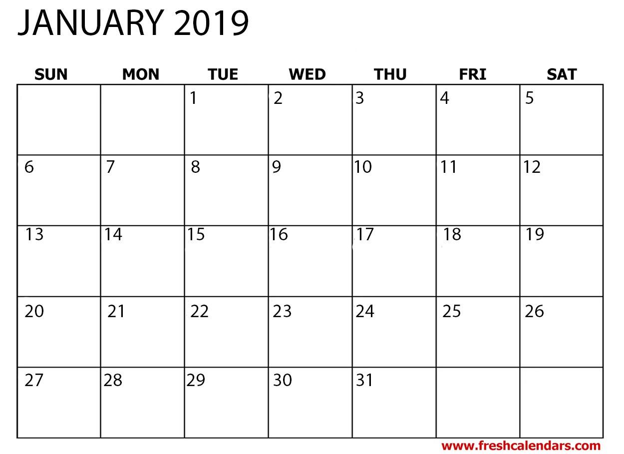 2019 Monthly Calendar Printable Free