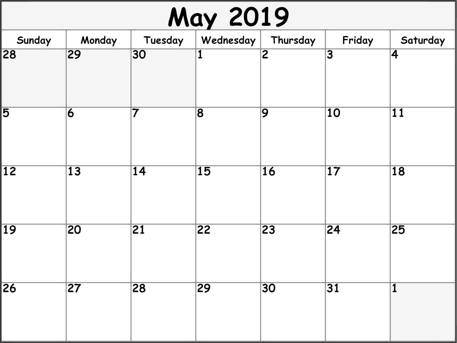 2019 Monthly Calendar Printable Free May 2019 Printable Calendar Templates Free Blank Pdf