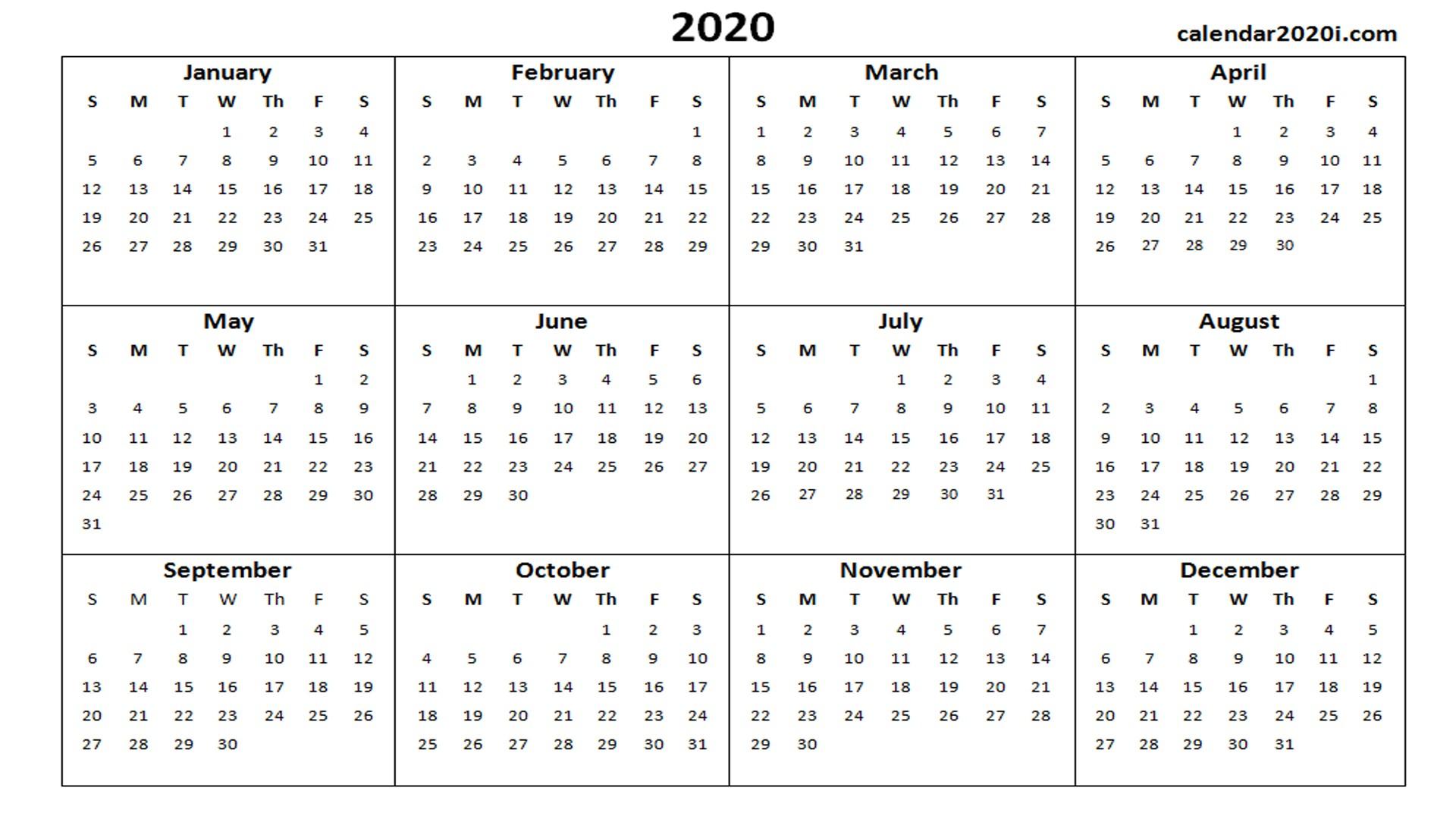 2020 12 Month Printable Calendar 2020 Calendar Printable Template Holidays Word Excel