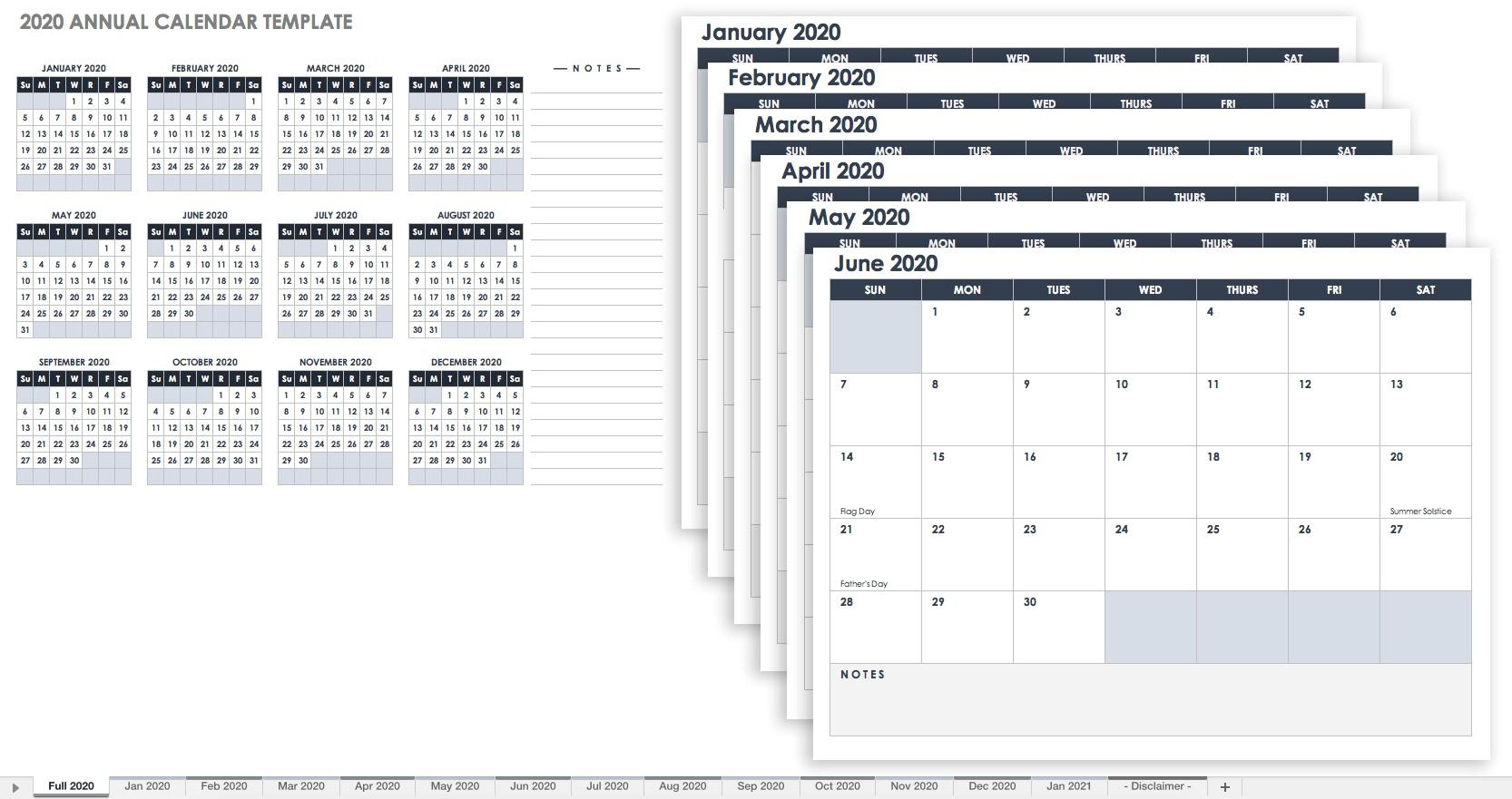 2020 12 Month Printable Calendar Free Excel Calendar Templates