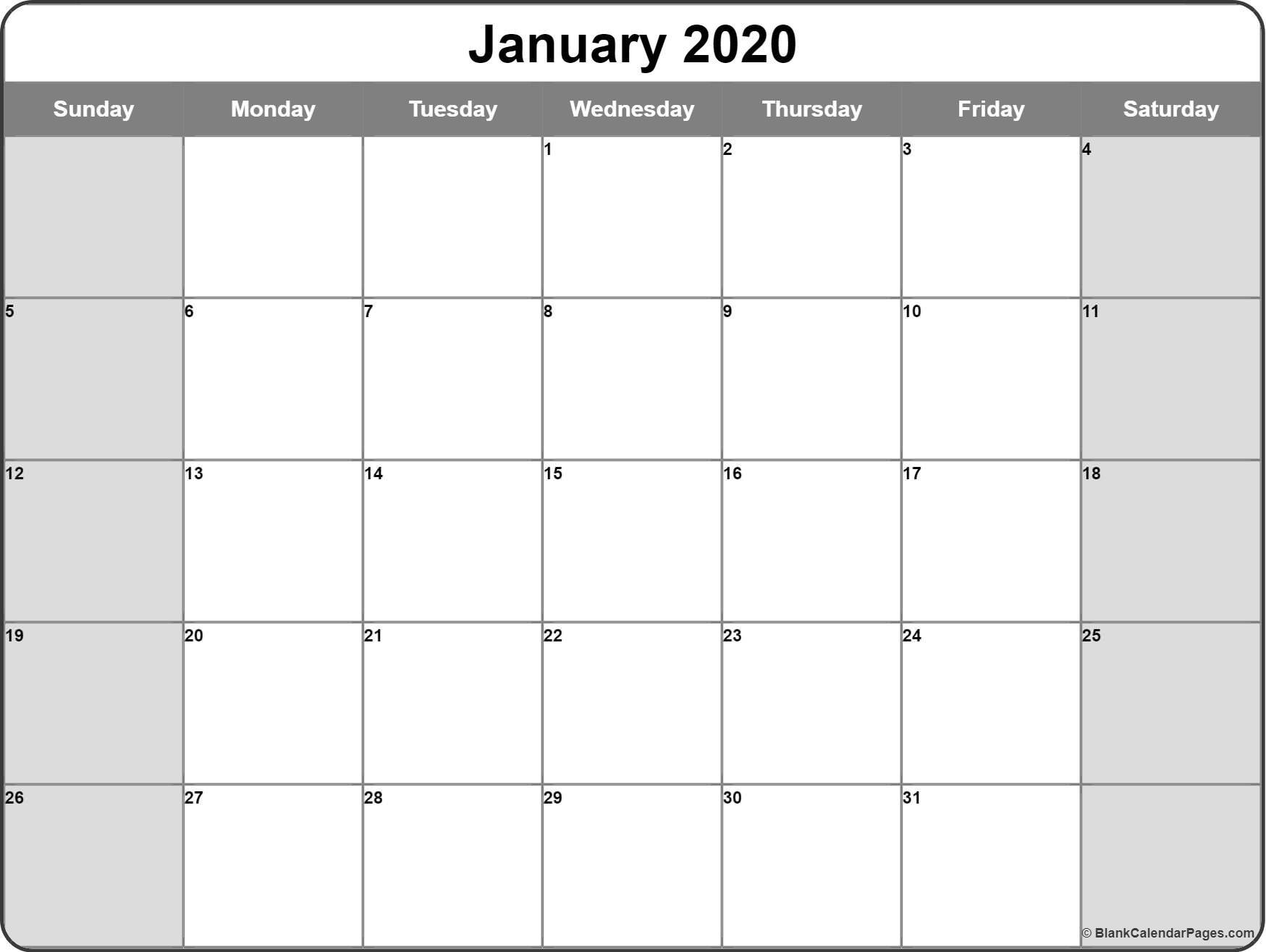 2020 Printable Calendar January 2020 Calendar