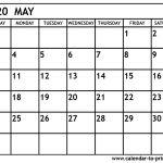 2020 Printable Calendar May 2020 Calendar Printable