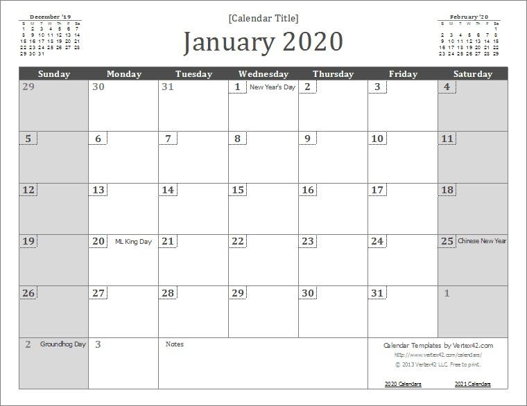 2020 Printable Calendar Template 2020 Calendar Templates and