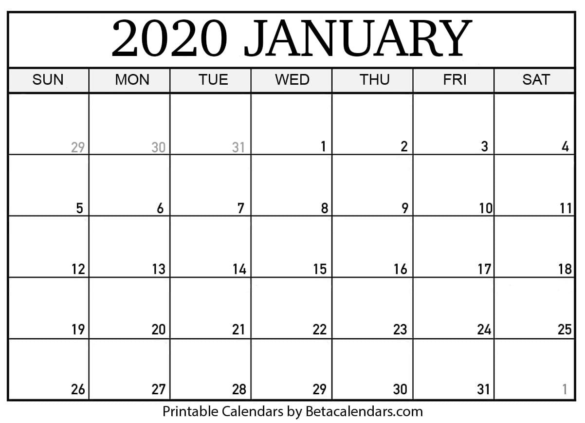 2020 Printable Calendar Template Blank January 2020 Calendar Printable Beta Calendars
