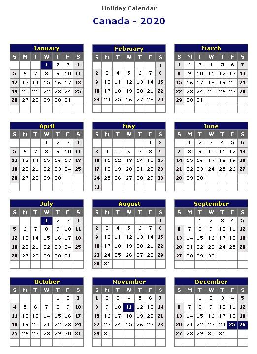 2020 Printable Calendar with Canadian Holidays 2020 Calendar Canada – Calendar Year Printable