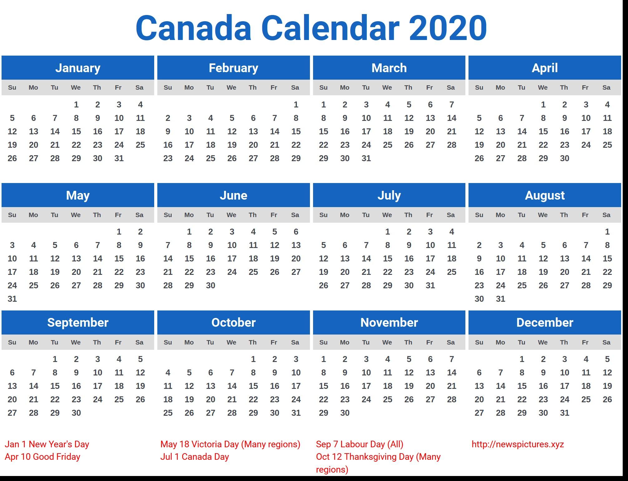 2020 Calendar Canada – calendar year printable