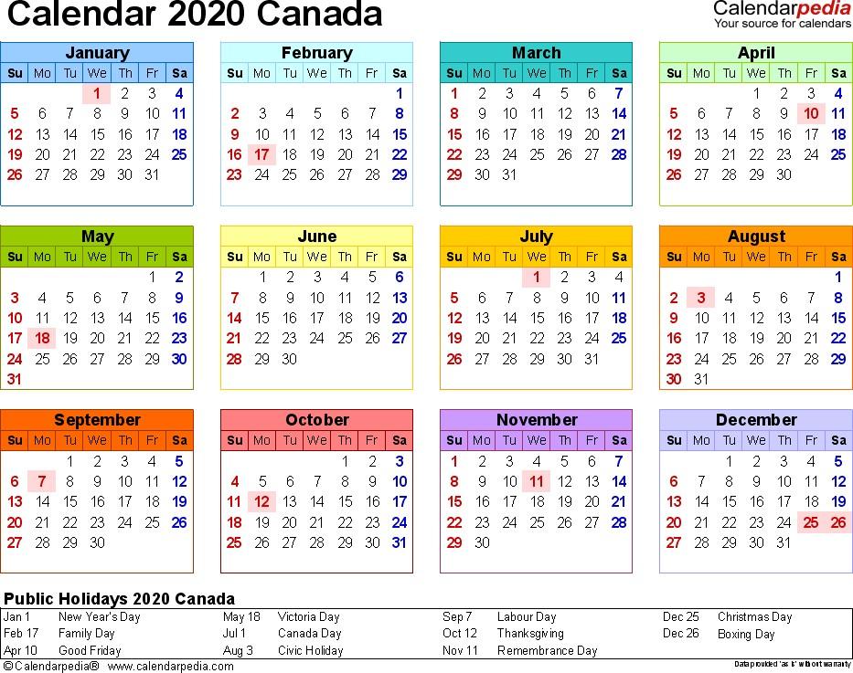 2020 Printable Calendar with Canadian Holidays