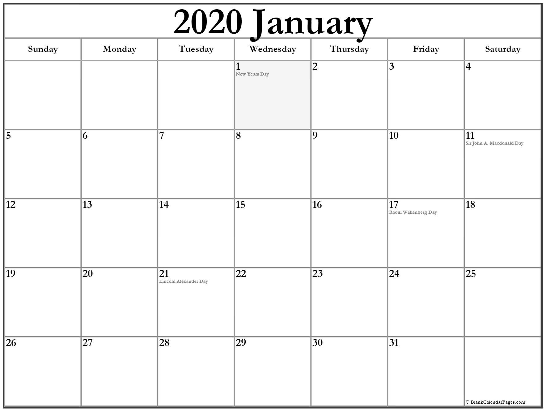 2020 Printable Calendar with Canadian Holidays Collection Of January 2020 Calendars with Holidays
