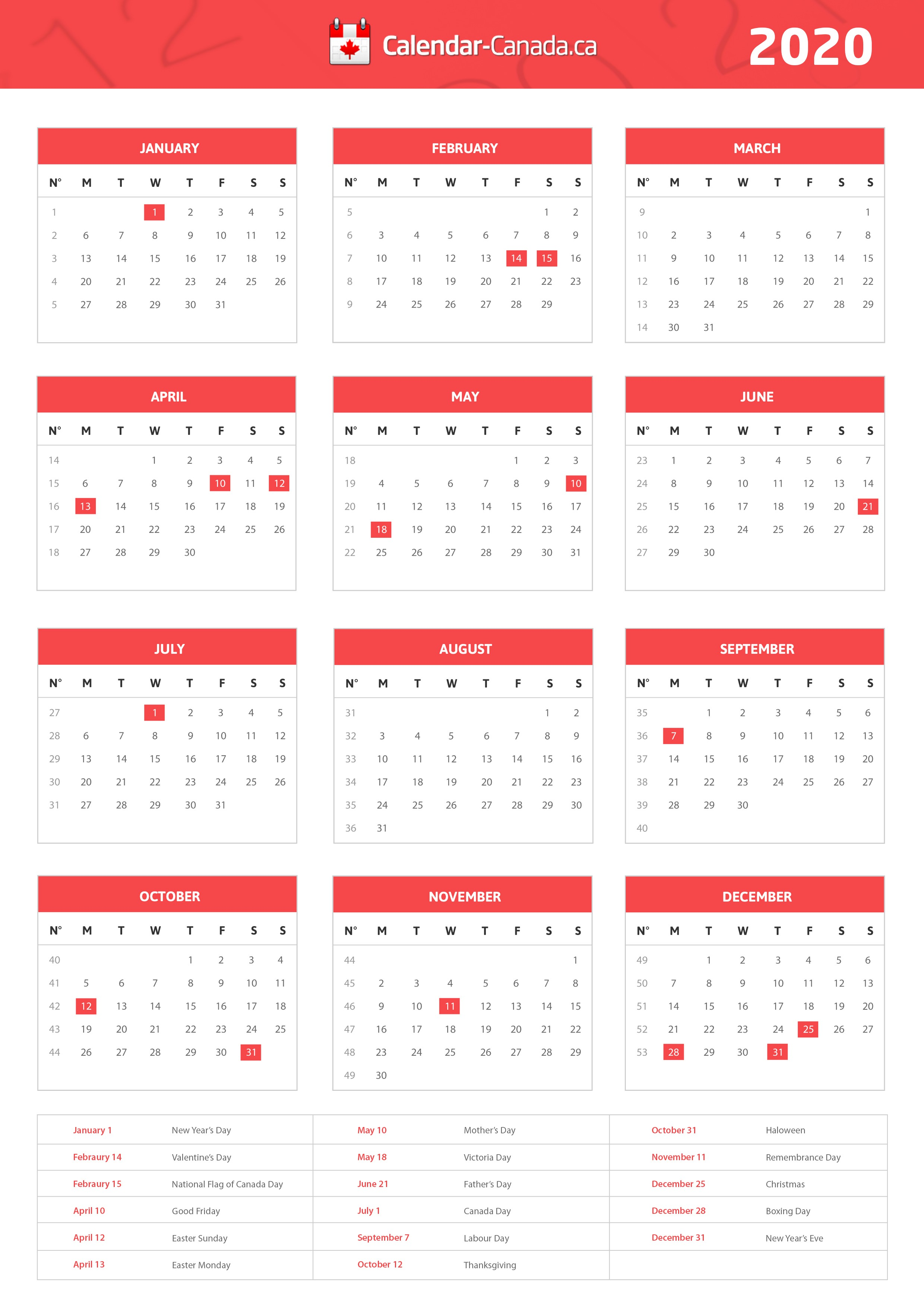 2020 Printable Calendar with Canadian Holidays Paid Holidays In Canada 2017