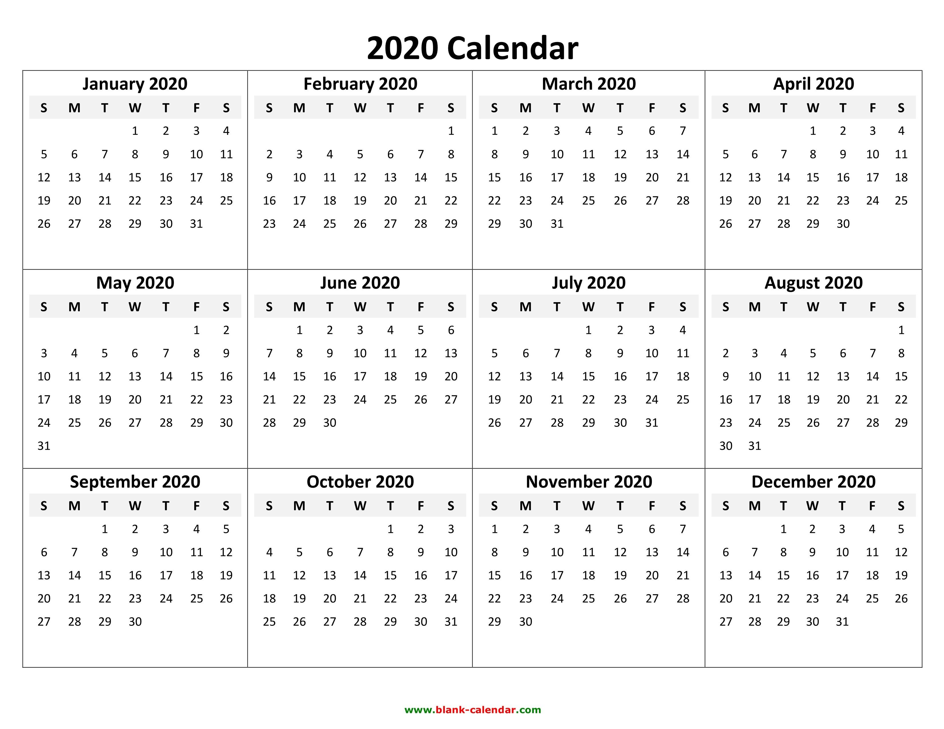 2020 Printable Calendar Yearly Calendar 2020