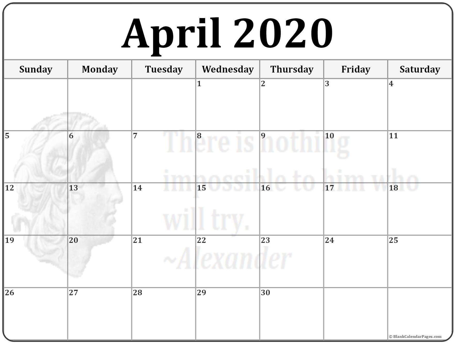 April 2020 Calendar Printable April 2020 Calendar