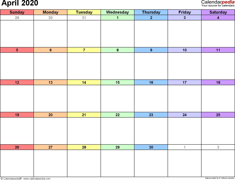 April 2020 Calendars for Word Excel & PDF