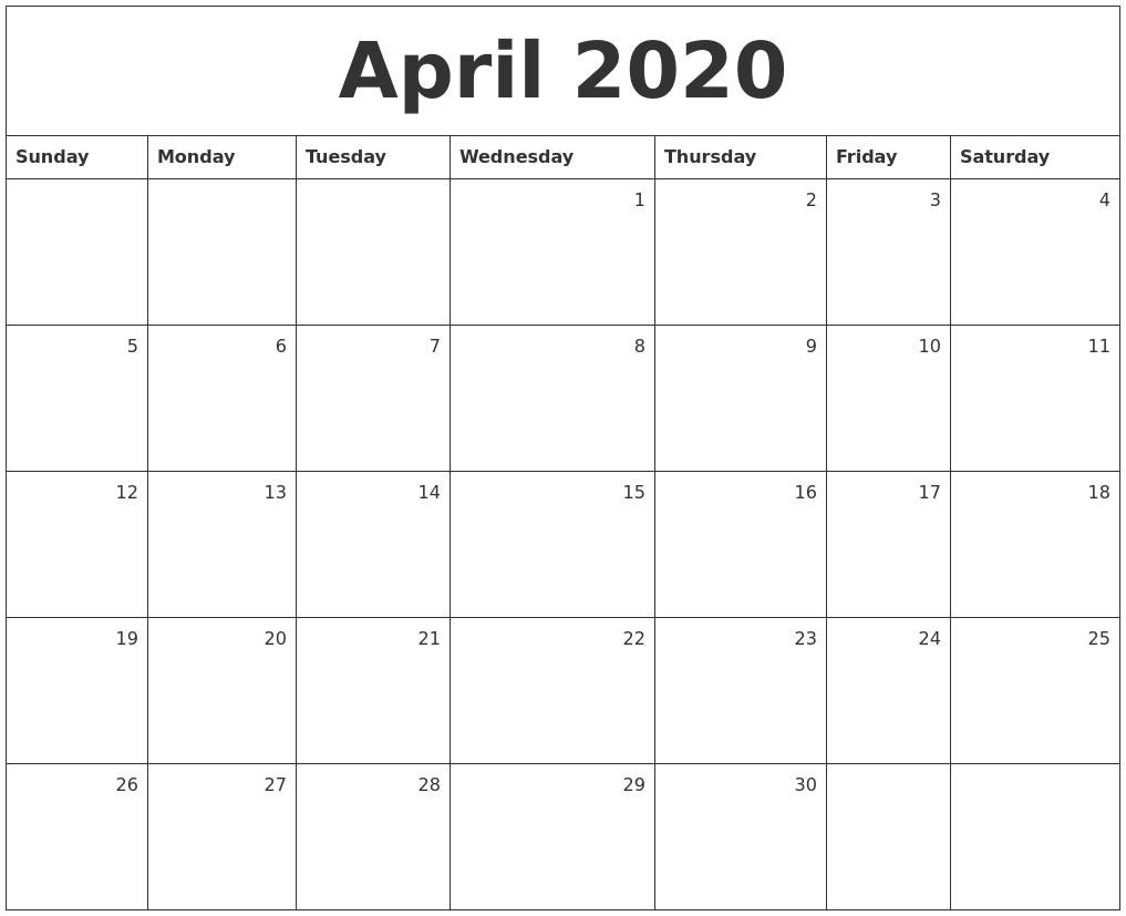 April 2020 Calendar Printable April 2020 Monthly Calendar
