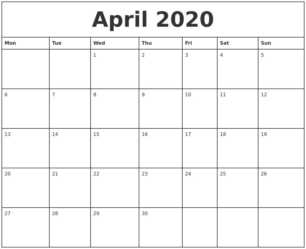 April 2020 Printable Monthly Calendar