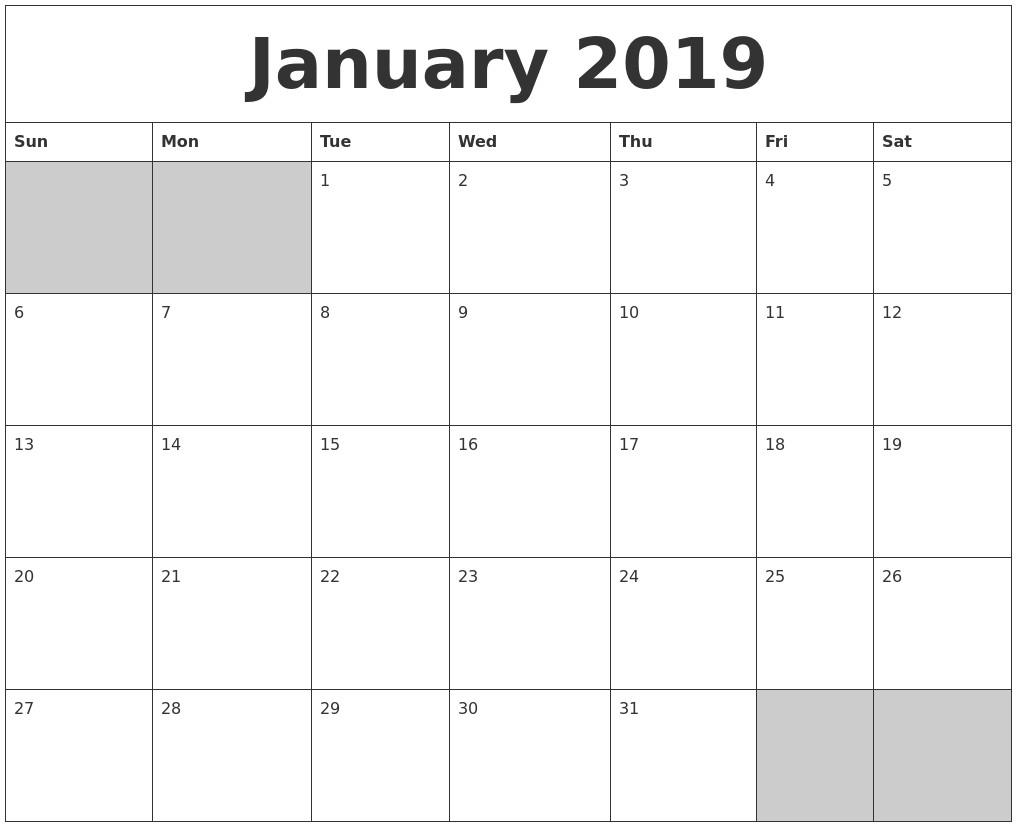 April 2019 Word Calendar