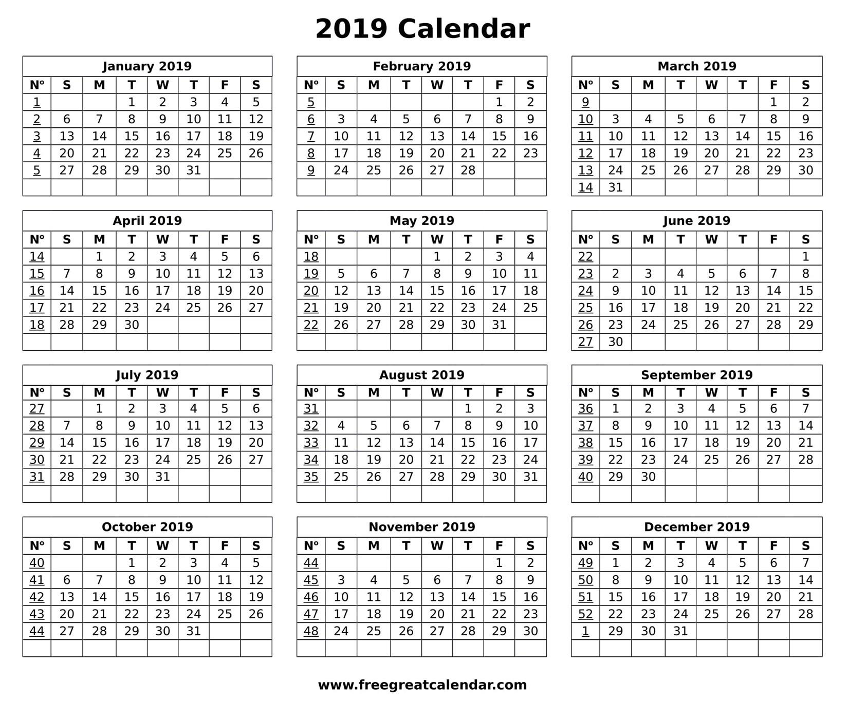 Blank Printable 2019 Calendar Blank 2019 Calendar Printable