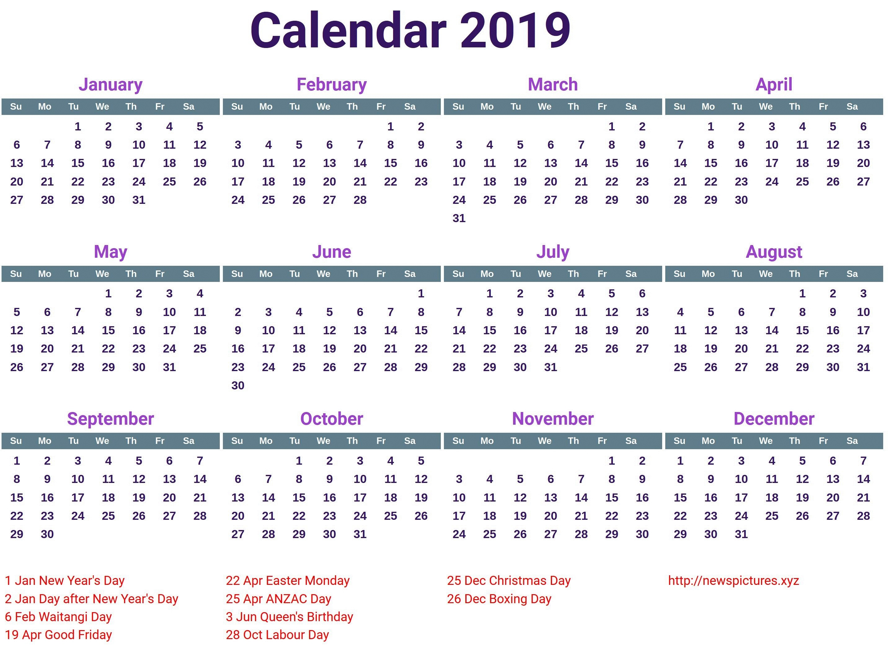 Calendar 2019 Canada Printable 2019 Holiday Calendar Canada Calendar2019