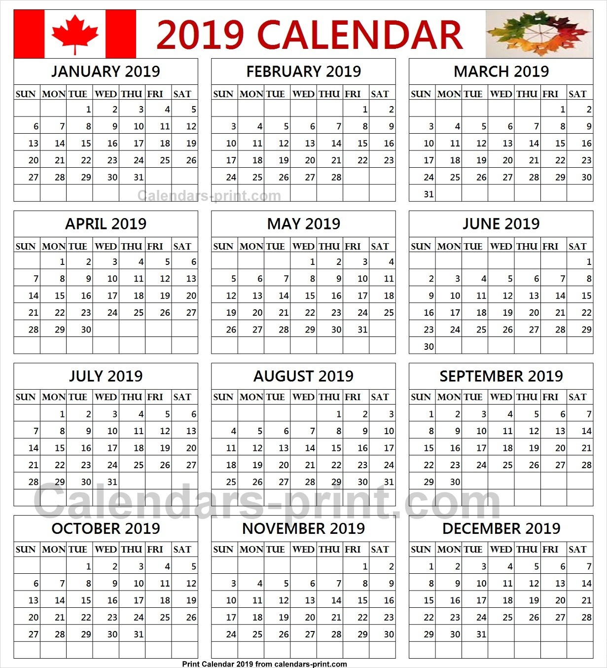 Calendar 2019 Canada Printable Free Calendar 2019 Canada Printable Template with Notes