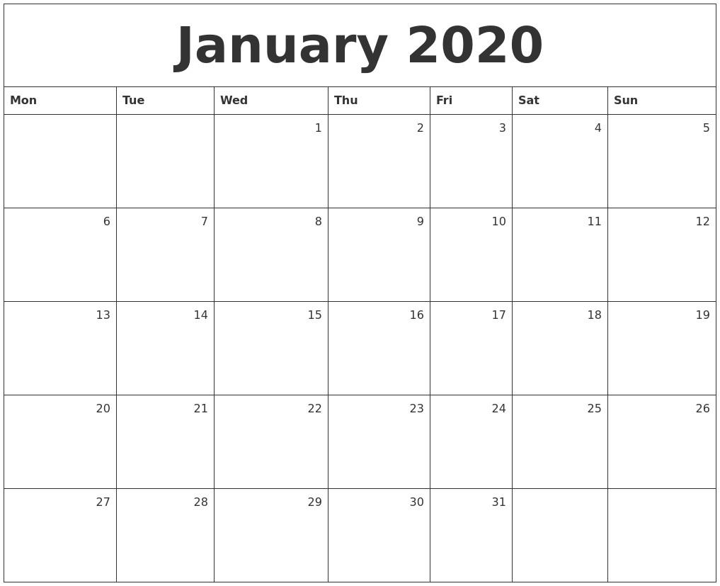 Calendar 2020 Monthly Printable January 2020 Monthly Calendar