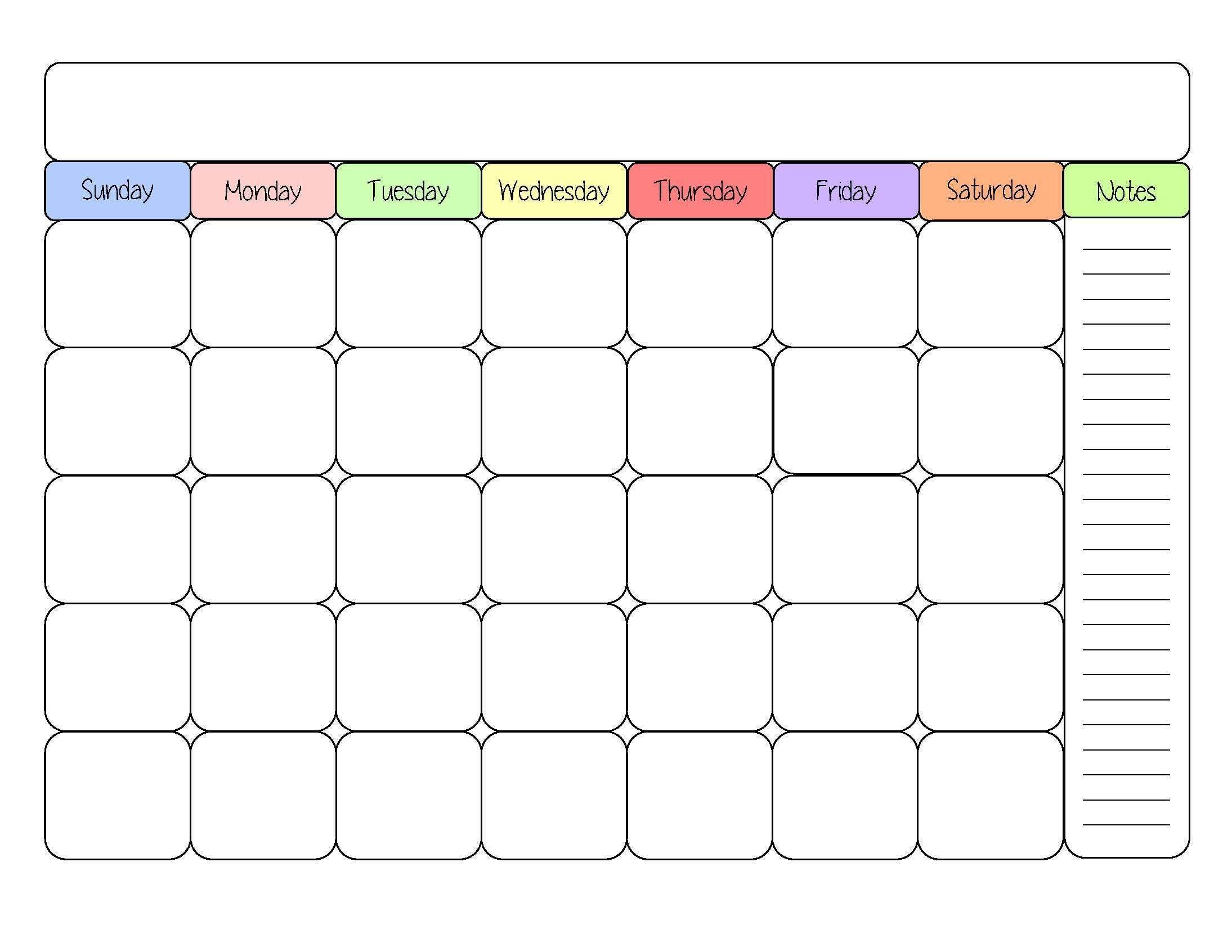 Cute Printable Monthly Calendar Cute Blank Calendar Templates Sight Word