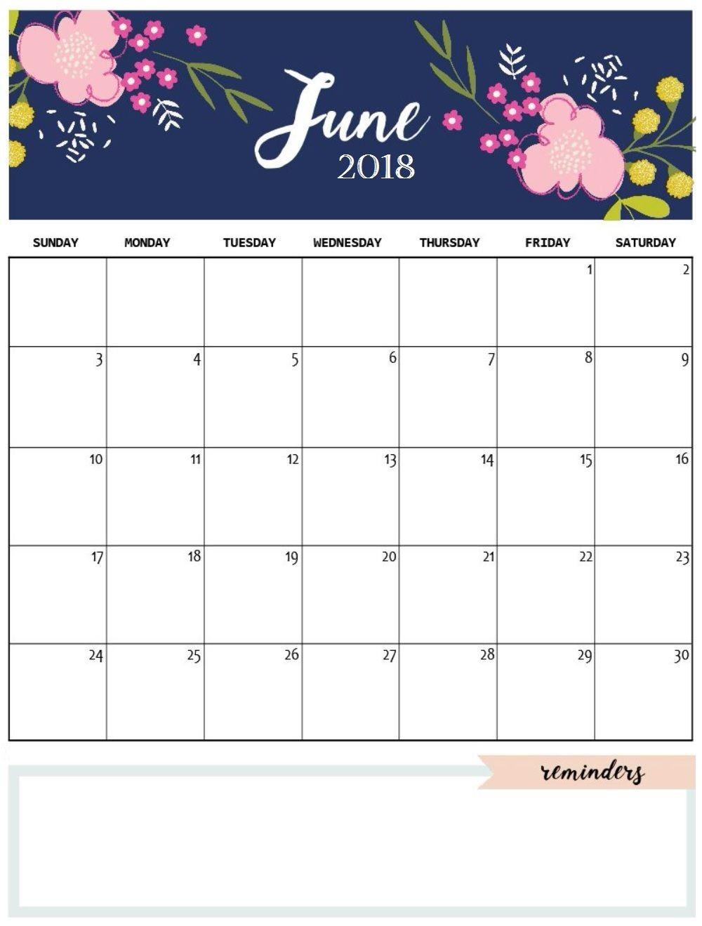 Cute June 2018 Calendar Template calendars