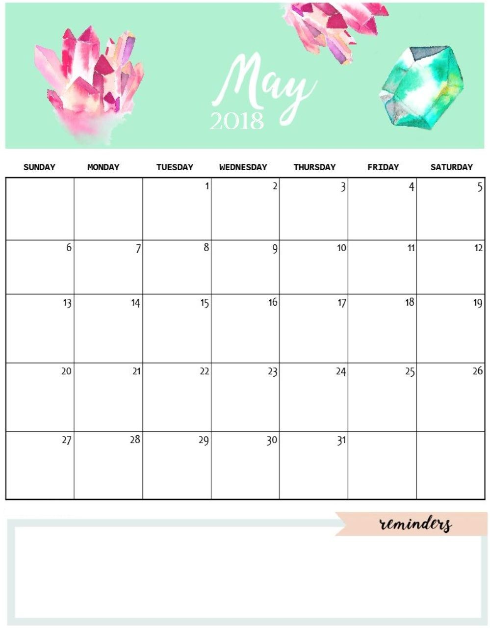 Cute Printable Monthly Calendar Cute May 2018 Calendar Template Calendars