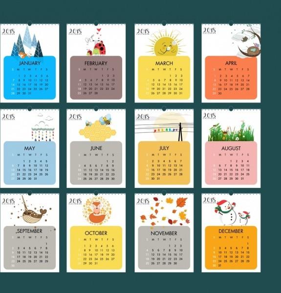 Design Printable Calendar 2018 Calendar Design Elements Natural Wild Life Icons Free