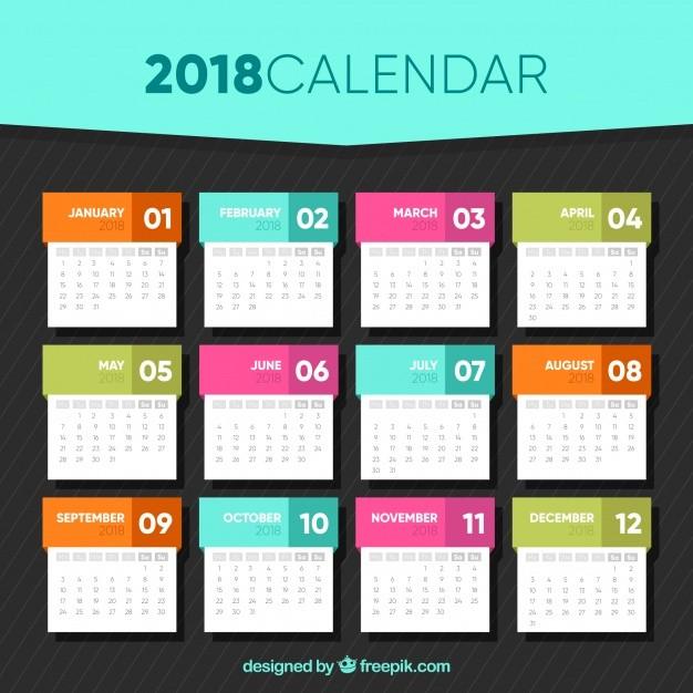 Design Printable Calendar 2018 Calendar Template In Flat Design Vector