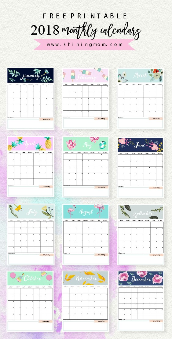 Design Printable Calendar Calendar 2018 Printable 12 Free Monthly Designs to Love