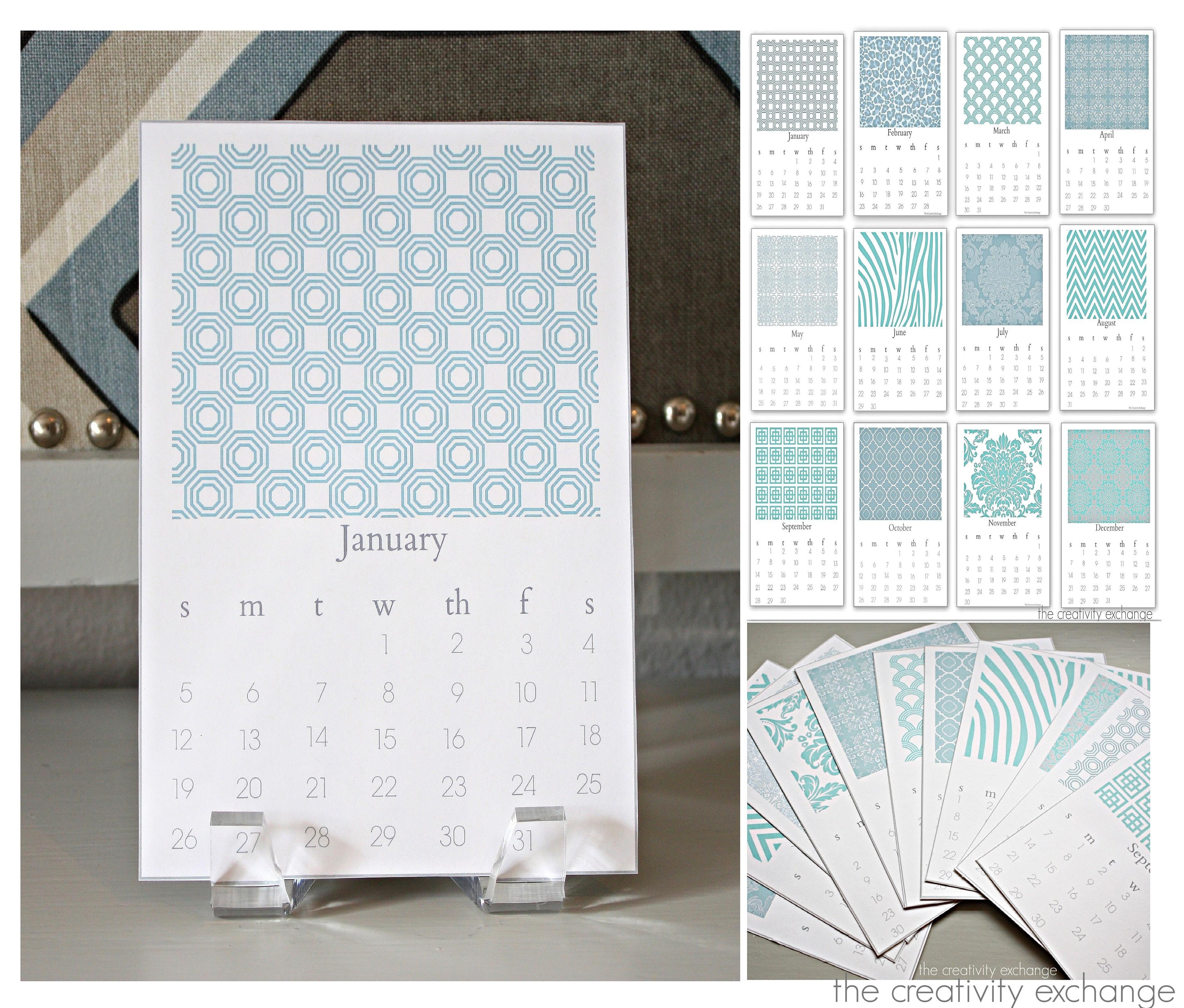Free Printable 2014 Chic Desktop Calendar