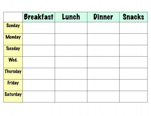Diet Calendar Printable Meal Planner Template