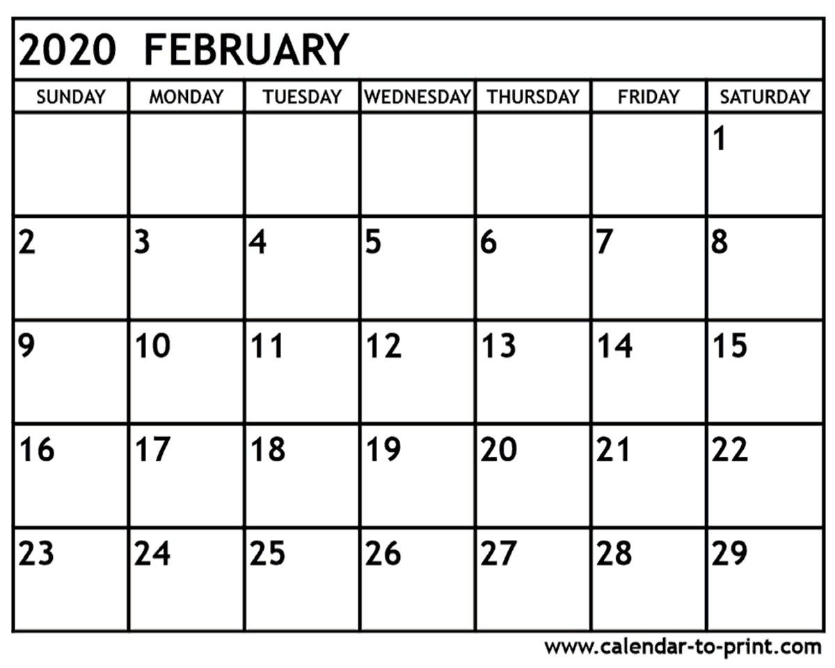 February 2020 Printable Calendars February 2020 Calendar Printable