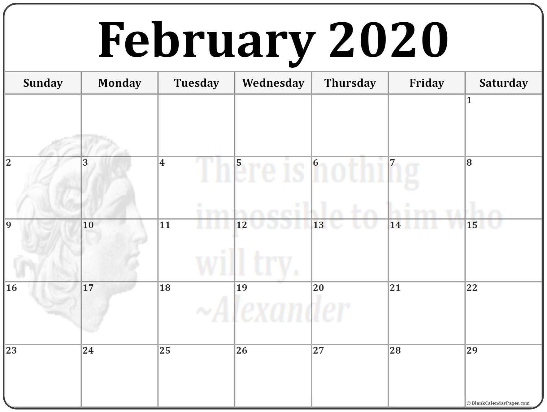Free Printable Calendar Feb 2020 February 2020 Calendar