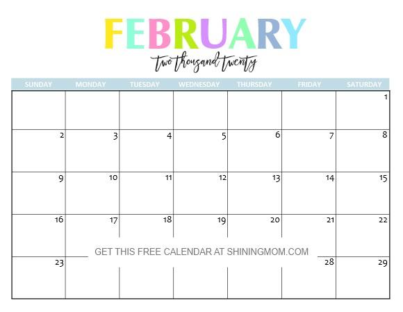 Free Printable Calendar Feb 2020 Free Printable 2020 Calendar so Beautiful & Colorful