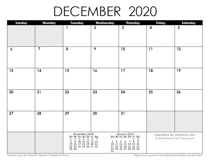 Free Printable Calendar January 2020 2020 Calendar Templates and