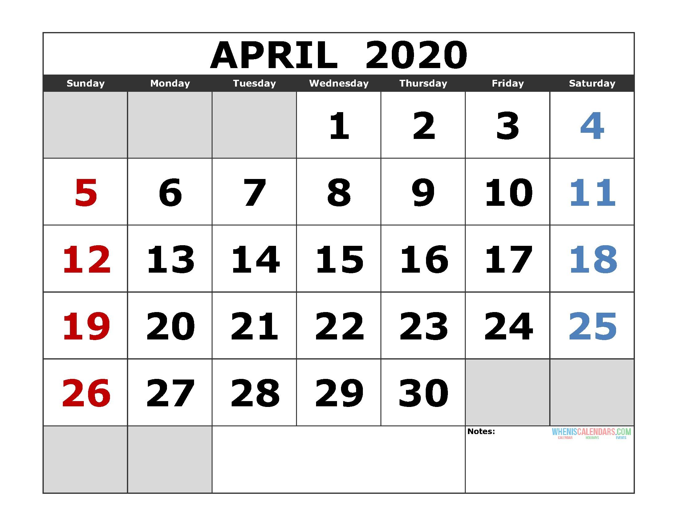 Free Printable Calendar January 2020 April 2020 Printable Calendar Template Excel Pdf Image