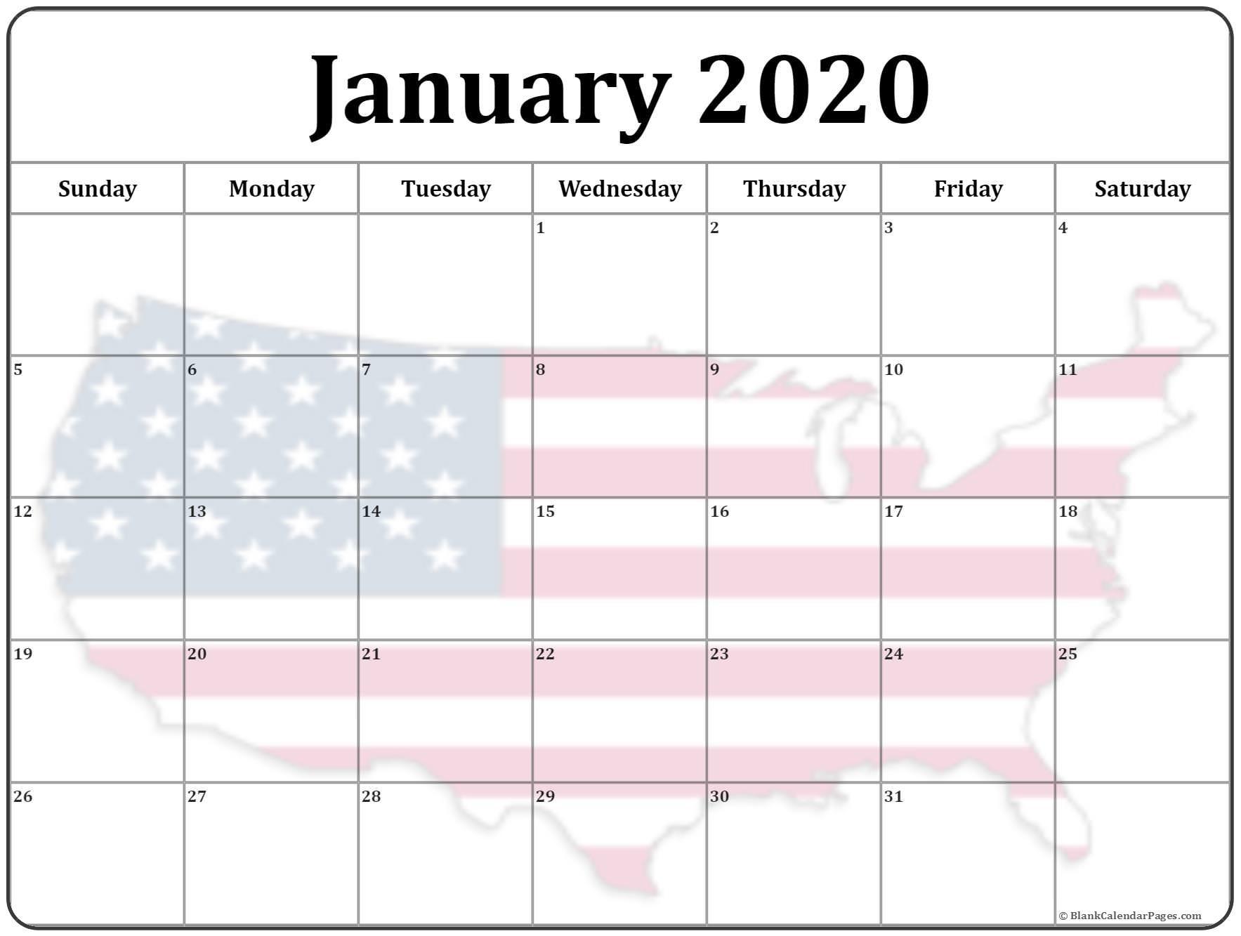 Collection of January 2020 photo calendars with image filters