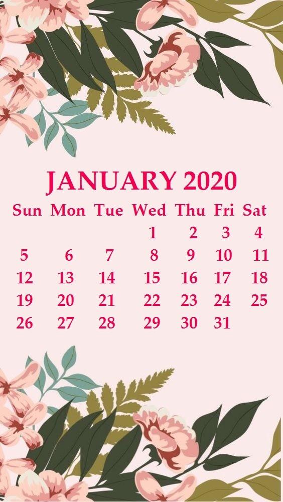 Free Printable Calendar January 2020 iPhone 2020 Calendar Wallpaper