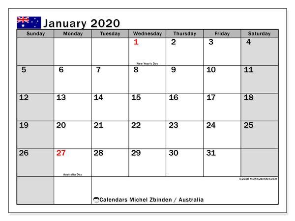 Free Printable Calendar January 2020 January 2020 Calendar Australia Michel Zbinden En