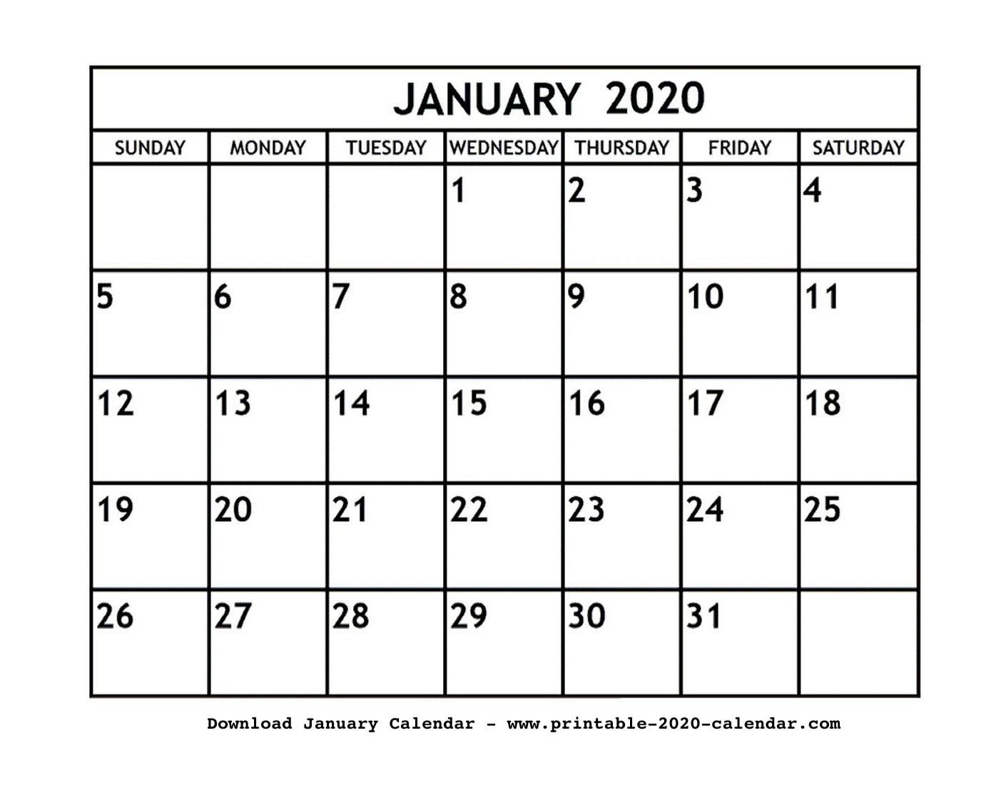 January 2020 Printable Calendar Blank Editable Printable